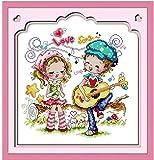 Bordado Kit de punto de cruz para adulto,Amante de la canción de amor Imágenes DIY Art Kit de punto cruz para niño Principiante la Regalo,decoración del hogar40x50cm(11CT Preimpreso Tela)