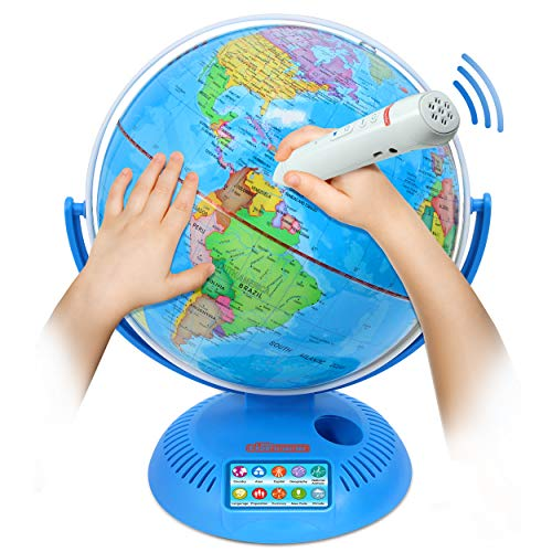 Interactive World Globe with Stand and Smart Pen | Engaging, Colorful Geographic Map for Teaching and Early Learning | Active Play, Voice Recordings, Trivia Questions, 9""