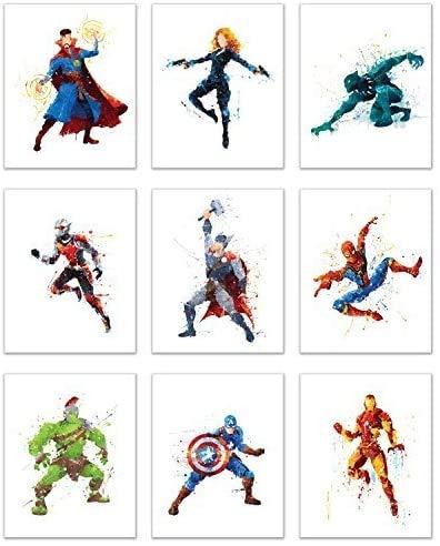 Avengers Superhero Wall Decor - Set of 9 (8x10) Infinity War Endgame Watercolor Art Poster Prints - Spiderman - Black Panther - Captain America - Iron Man - Hulk - Thor - Ant Man - Black Widow - Doctor Strange