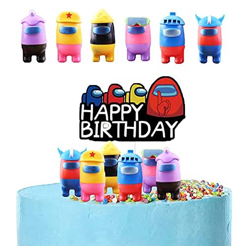 Among Us Figuras Muñecas - 7 piezas Among Us Mini Juego de Figuras, Among us Mini Decoración de fiesta Baby Shower Fiesta de cumpleaños Pastel Decoración Suministros