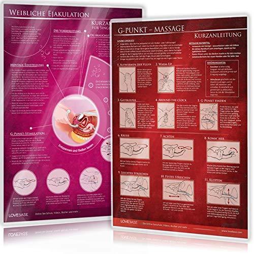 [2er Set] G-Punkt-Massage und Weibliche Ejakulation: Ideal für die erotische Massage [2 Karten DIN A4 - 2seitig, laminiert]
