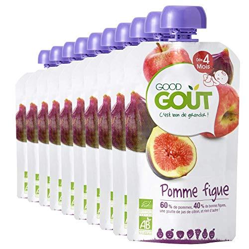 Good Goût - BIO - Gourde de Purée de Fruits Pomme Figue dès 4 Mois 120 g - Pack de 10