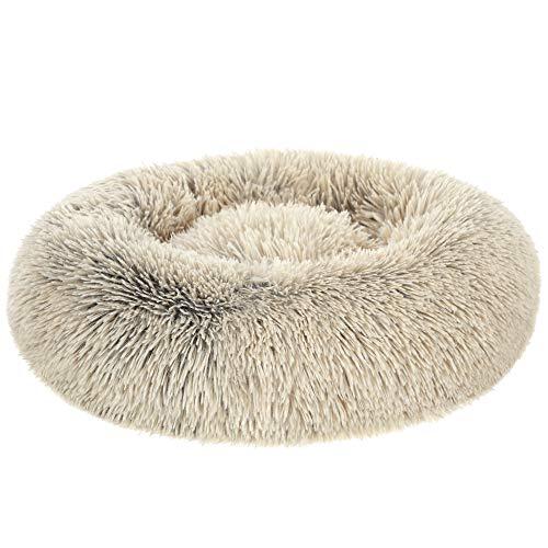 FEANDREA Hundebett, Katzenbett, weicher Plüsch, 50 cm, Khaki PGW037S01
