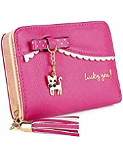 ミニ財布かわいいレディース 短財布 二つ折り ウォレット ラウンドコイン・ カードケース 猫耳 お札財布 小銭入れ コンパクト 女性用プレゼント