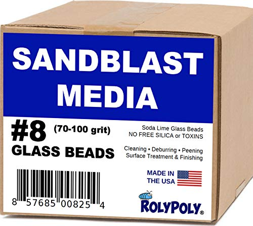 Sandblasting Media Glass Beads #8 (10 LBS) 70-80 Grit for Sandblaster Abrasive, Blasting Gun, Cabinet