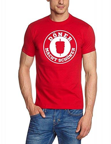 DÖNER T-Shirt ! Döner Macht schöner ! Döner Kebab Imbiss T-Shirt rot-Weiss Gr.M