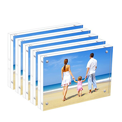NIUBEE 5 Pack Acrylic Picture Frames 4x6 Inches, Bulk Clear Double Sided Desktop Frameless Photo Frame with Retail Gift Box Package