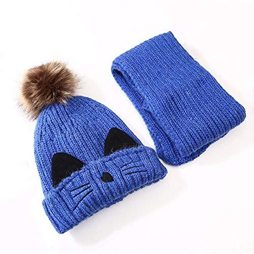LBSX 2 en 1 Bufanda del Invierno Sombreros for Niños, Sombrero Hecho Manguitos del oído del Calentador del Cuello Desmontable con Máscara y Slouchy Pom Pom...