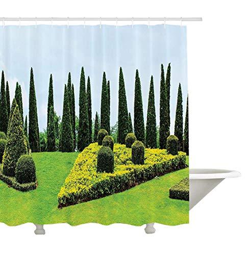 Yeuss Country Home Decor Collection, Klassisch-formell gestalteter Garten mit immergrünen Sträuchern, Buchsbaum-Topiaries, Badezimmer-Duschvorhang aus Polyestergewebe, grün-gelb