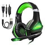 Kriogor Casque Gaming pour PS4 Xbox One Casque Gamer avec Micro Anti Bruit LED Lampe Stéréo Basse Contrôle du Volume Microphone Réglable (Vert)