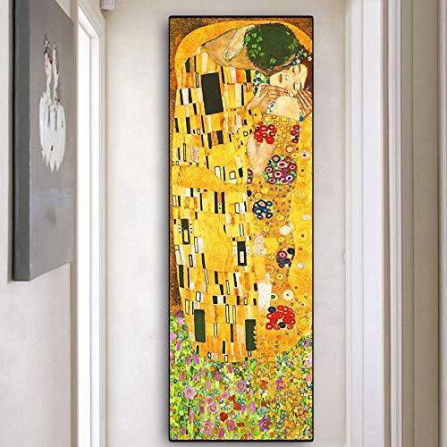 Artista Gustav Klimt beso colección abstracta pintura al óleo sobre lienzo carteles e impresiones Cuadros cuadros de arte de pared para sala de estar 30x90 CM (sin marco)