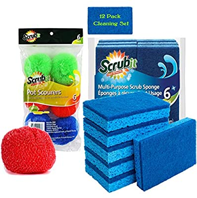 Dish Cleaning Set by SCRUBIT - 6 Cellulose Scrub Sponges and 6 Non-Scratch Round Nylon Scour Pads - Use Scrubbing Sponge for Kitchen & Bathroom - Tough and Durable Scrubber Pad for Non-Stick Cookware