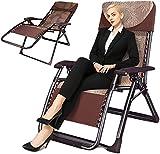 Sillón reclinable silla de gravedad cero plegable jardín tumbona grande patio reclinable silla de playa con reposacabezas capacidad de carga máxima 600 libras