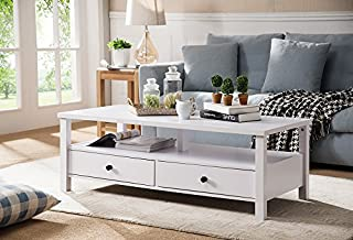 Smart Home 161563CT Modern Coffee Table for Living Room, White Color, Coffee Table with Storage
