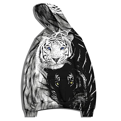 XDJSD Camisa Deportiva para Hombre Suéter con Capucha Tallas Grandes Chaqueta Deportiva para Hombre Estampado De Tigre Hombres Y Mujeres Uniforme De Béisbol con Capucha Suéter Sudadera con Cap