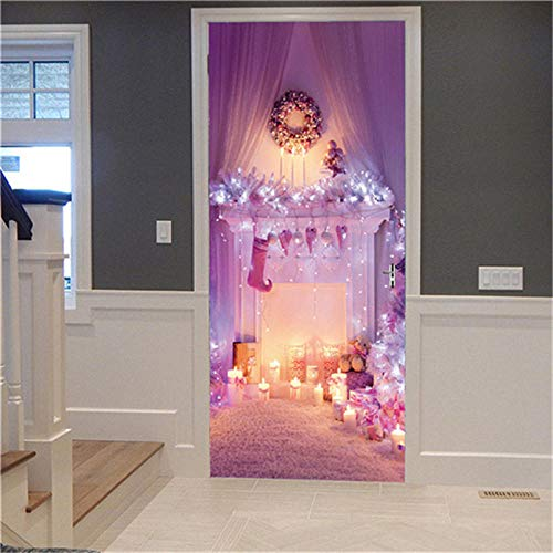 Uvvsovs 3D Self-Adhesive Door Stickers Pink Christmas Fireplace 77X200Cm Door Wallpaper Stickers Posters Removable Waterproof PVC Creative Modern Artist Home Decoration Suitable for Hotel Bedroom Ki