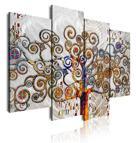 DekoArte 479 - Cuadros Modernos Impresión de Imagen Artística Digitalizada   Lienzo Decorativo Para Salón o Dormitorio   Estilo Abstractos Árbol de la Vida de Gustav Klimt Plata   4 Piezas 120x90cm
