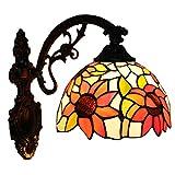 Fabakira Applique Murale Lèche-murs Style Tiffany Baroque Chambre Lumière Abat-jour en Verre Decoratif 20*38CM