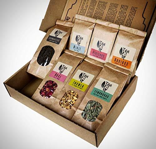 TeaItUp Tee Geschenk-Set zum Mischen, Entdecken & Genießen | 7 Teesorten | 100+ Variationen möglich | für Männer & Frauen, Jung & Alt | Tee-Box | Geschenk-Idee | Weihnachts-Präsent