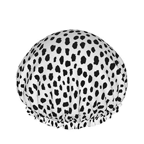 Spots - Gorro de ducha de doble capa impermeable y elástico para mujer