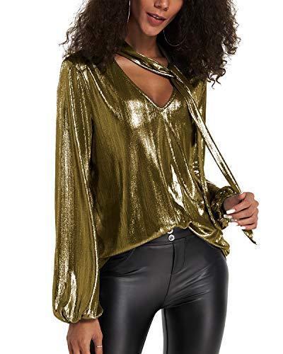 YOINS Sexy Oberteil Damen Glitzer Oberteile Wetlook Langarmshirt für Damen Tshirt V-Ausschnitt Clubwear Partywear Lederlook Gold-01 M