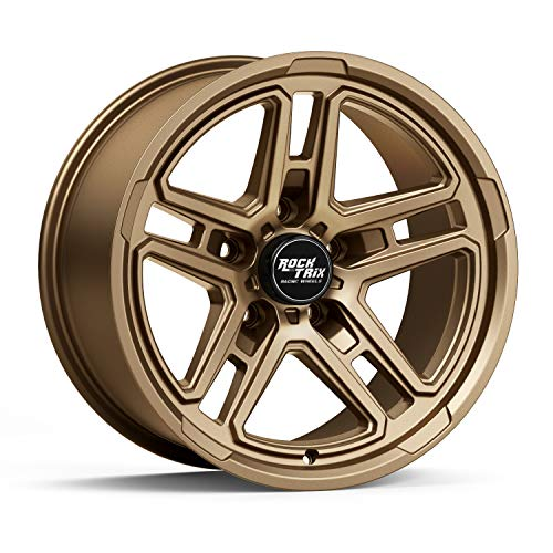 RockTrix RT108 17 inch Wheel Compatible with Jeep Wrangler JK JL 5x5 Bolt Pattern 17x9 (-12mm Offset, 4.5in Backspace) 71.5mm Bore, Bronze, Also fits Gladiator JT - 1pc