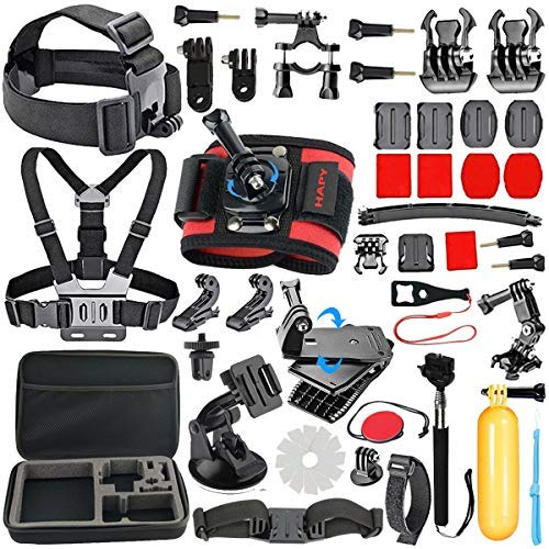 HAPY Accessory Kit for GoPro Hero6,5 Black,gopro Fusion,Hero Session,Hero (2018), Hero 6,5,4, 3+,3,Campark ACT74,XIAOMI,AKASO/APEMAN/DBPOWER,Sports Camera Accessories