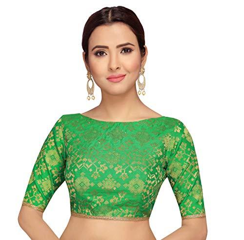STUDIO Shringaar Pure Benaras Brocade Readymade Saree Blouse With Elbow Length Sleeves (Green, 34)