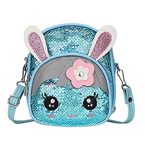 FBGood Kinder Blinkende Pailletten Kaninchen Ohr Rucksack, Schulstudenten Rucksäcke Großer Kapazität Taschen Reisetasche Schultaschen Handtasche Freizeit Umhängetasche