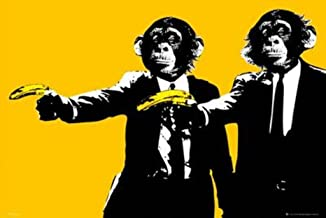 Monkeys Banana Guns Art Print Poster 36x24