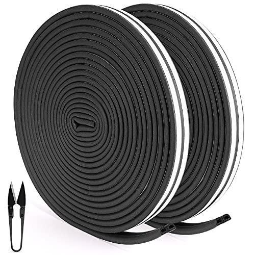 RATEL Tira de Sellado Junta de 30 m(4 x 7.5 m), Goma burlete para Puerta Ventana colisiones Resistente al Agua Autoadhesiva con 1 tijera Antigolpes Prevenga el Ruido Tipo D Negro