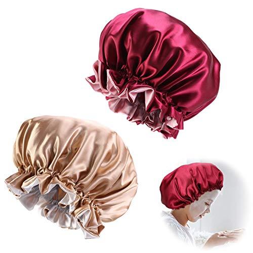 2 Stück Schlafmütze Nachtmütze Satin Haube Schlafen atmungsaktive Kopfbedeckung weiche Kopfhaube Nacht Schlaf Mütze Sleep Cap Hair Bonnet Duschhauben Abdeckung Haarturbanen für Damen und Mädchen