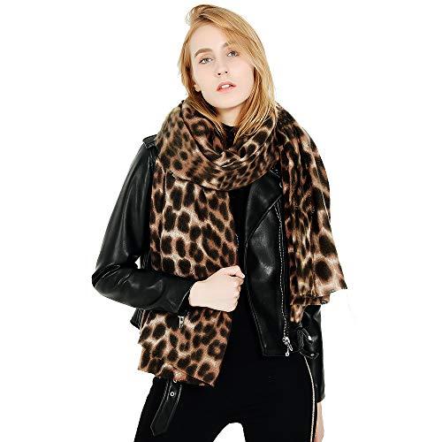 Superora Damen Schal Leoparden Winter Schultertuch Deckenschal übergroßer Kuscheliger Oversized Poncho lang mit Fransen