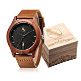 Wooden Watch, Wood Watches for Men Women Minimalist Design in Engraved Wood Box