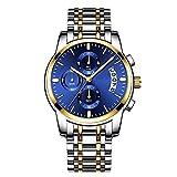 Ver Reloj Diario Resistente al Agua para Hombres Reloj Luminoso de Cuarzo Reloj de Cuarzo Banda de Acero Inoxidable Asistencia Escolar Viajero Reloj de Pulsera (Color : 01Blue-Gratis)
