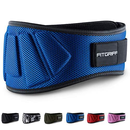 Fitgriff® Gewichthebergürtel V1 - Fitness-Gürtel für Bodybuilding, Krafttraining, Gewichtheben und Crossfit Training - Trainingsgürtel für Damen und Herren (Blau, M)