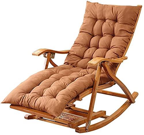 Liegestuhl HAIYU- Outdoor Klappbar, Bambus Schaukelstuhl Garten Sonnenliege Relaxsessel mit Dehnbarer Fußstütze Fußmassage Leisure Siesta Sessel, mit Kissen (Color : Brown)