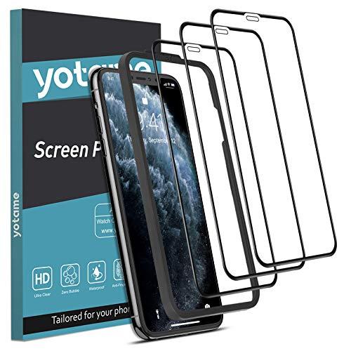 yotame Full Screen [3 Stück] Panzerglas für iPhone 11 Pro Max, iPhone XS Max Schutzfolie mit Positionierhilfe 9H Härte Displayschutzfolie für iPhone 11 Pro Max/iPhone XS Max Folie - 6,5 Zoll
