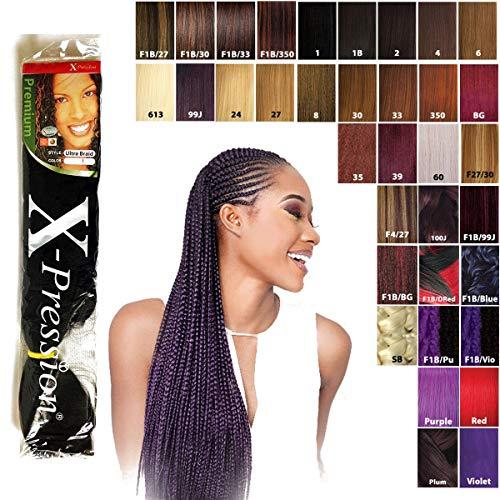 X-pression Premium Original Ultra Braids - bulk, Farbe:T1B/BLUE (OMBRE Schwarz/Blau)