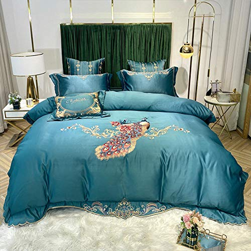 geek cook Bedding 4 Piece,Spring and summer Nordic ice silk sheets four-piece cotton cotton washed silk embroidery flower bedding-Emerald_Suitable for 1.5m-1.8m bed