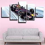 GSDFSD 5 Piezas Decor Salon Murales Fórmula 1 Racing Car Cool Pasillo Decor Arte Pared Enmarcado HD Impresión Regalo (Enmarcado Tamaño 200x100cm)