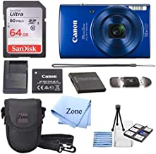 Canon PowerShot ELPH 190 Digital Camera w/10x Optical Zoom and Image Stabilization - Wi-Fi & NFC Enabled + 64GB SD Card+ Case+ NB-11L Extra Battery Bundle Kit (Blue)