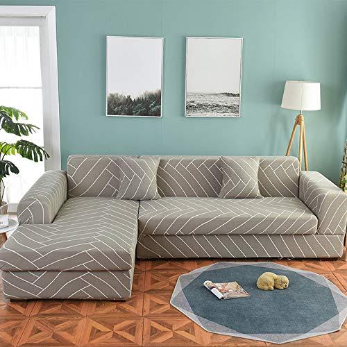ASCV Juego de Fundas de sofá Funda de sofá geométrica Funda de sofá elástica para Sala de Estar Esquina de Mascotas en Forma de L Chaise Longue Funda de sofá A1 2 plazas