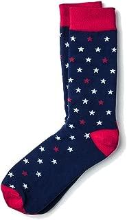Men's Patriotic Home of the Brave Stars Red White & Blue Crew Dress Socks
