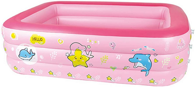 CQ Play Pool, Rectangular Inflatable Family Pool - Pink- 180×140×60cm
