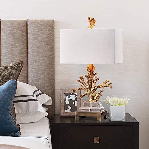 Lampa stołowa Prosta, nowoczesna, kreatywna lampa sto?owa z kryszta?em koralowym, lampka nocna do sypialni, lampka nocna do salonu, lampa sto?owa do nauki 36 * 68 cm (pilot) (kolor:czarny)