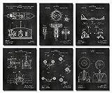 Nikola Tesla Inventions - Set of Six 8'x10' Wall Art Patent Prints - Engineering Gifts - Nerd Home Decor Chalkboard