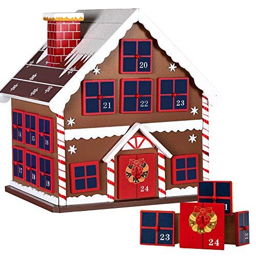 BAKAJI Calendario dell' Avvento di Natale in Legno con 24 Cassetti Numerati per Sorpresa Decorazioni Addobbi Natalizi Casa (Casetta di Natale)