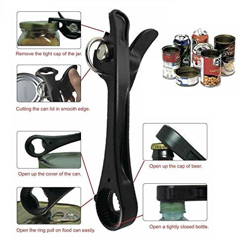 All Splendid All Splendid 6 In 1 Heavy Duty Tin Multi-function Bottle Opener Jar Opener Bottle Cap Remover Black