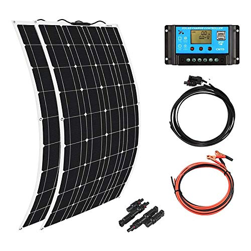 XINPUGUANG 200W 12V Solar System Kit 2pcs 100 watt Flexible Monocrystalline Solar Panel Photovoltaic Module 20A Solar Charge Controller for Motorhome, Boat, Roof, 12 volts Battery Power
